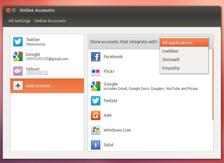 Online Accounts integrate