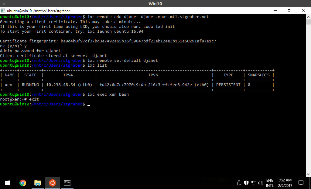 client LXD Windows via Ubuntu bash